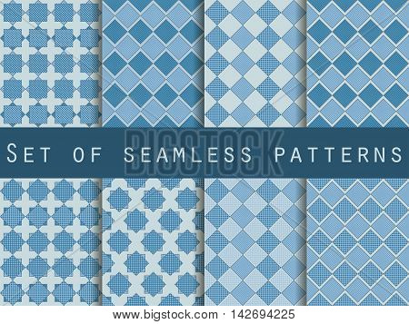 Seamless Checkered Patterns With Dots And Stripes. Set Vector Backgrounds.