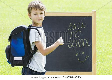 Little schoolboy against the blackboard. Child point to the schoolboard. Education, Back to school concept.