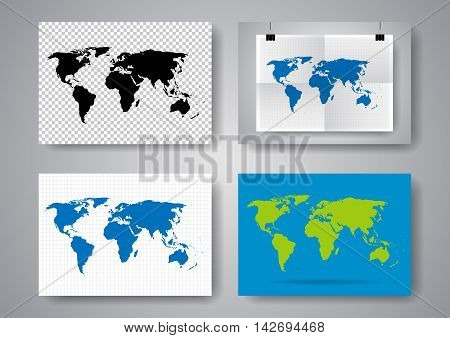 Set of vector maps of the world on a gray background. Twice a folded poster with buckles.