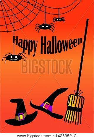 Bottom Halloween hats and broom witch, and spiders. Happy Halloween