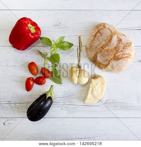 Red Pepper, Basil, Cherry Tomatoes, Aubergine And Bread