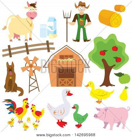 Big set of cartoon characters and elements of the farm. Buildings, farmer, livestock, trees. On a white background. Vector illustration.