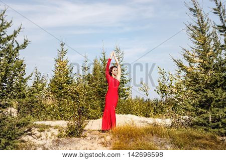 Lady In A Red Dress In The Forest