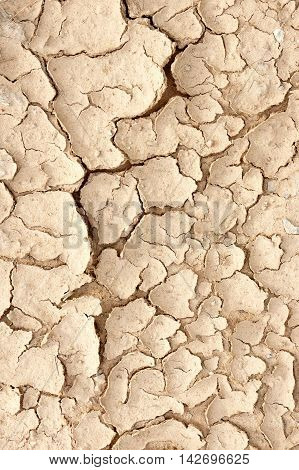 Dry soil caused by drought in the summer.