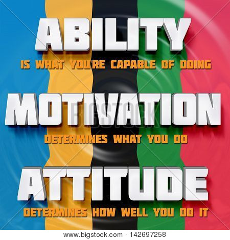 Motivational on a color background words: Ability motivation attitude