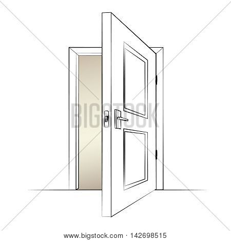 open door. Isolated illustration of a door. Vector illustration