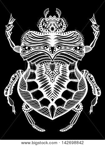 Black and white hand drawn zentangle stylized beetle. Doodle ethnic patterned vector bug. African egyptian totem. Sketch for tattoo poster print or t-shirt