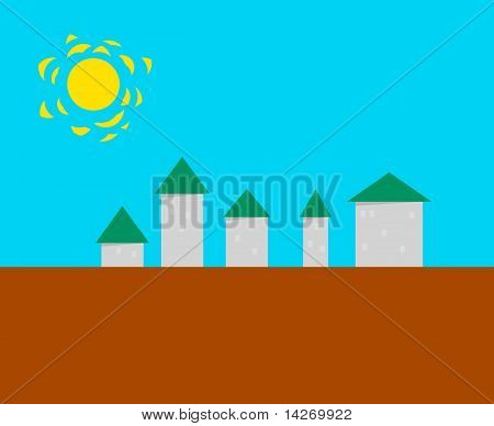 Stylized Small Town - Vector Illustration