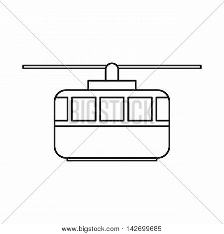 Funicular icon in outline style isolated on white background. Transportation symbol vector illustration