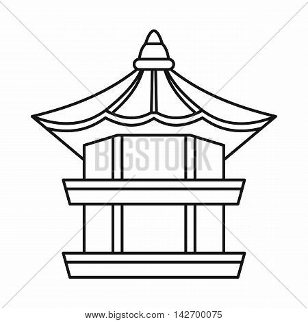 Traditional korean pagoda icon in outline style isolated on white background vector illustration