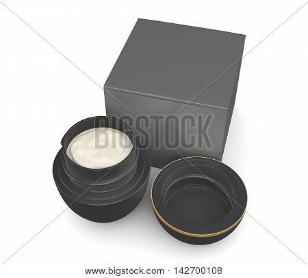Jar Of Cream And The Box Isolated On A White Background. 3D Rendering