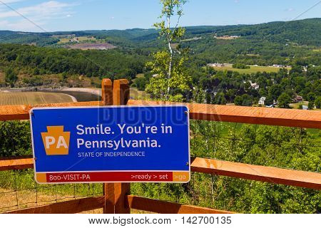 Tioga PA - July 26 2016: The lookout area at the Pennsylvania Welcome Center on Route 15 about seven miles from the NY-PA Border.