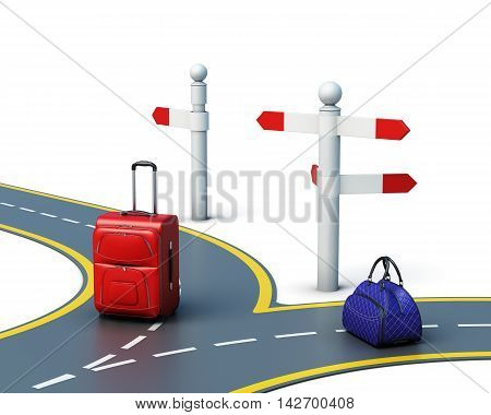 Concept Of Travel Choice Isolated On White Background. 3D Render Image