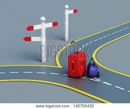 Travel Concept Suitcases On The Road. 3D Rendering