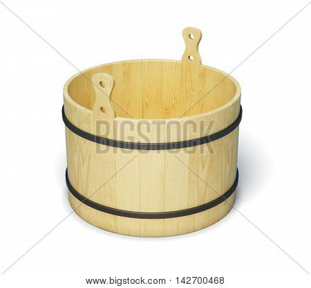 Wooden Bucket Isolated On White Background. 3D Render Image