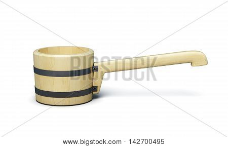 Wooden Ladle For Sauna Isolated On White Background. 3D Rendering