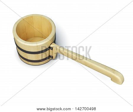 Ladle For The Sauna Isolated On White Background. 3D Render Image