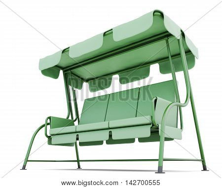 Metal Garden Swing With Canopy Isolated On A White Background. 3