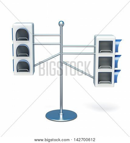 Advertising Information Desk Front View On White Background. 3D Rendering