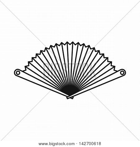 Opened oriental fan icon in outline style isolated on white background vector illustration