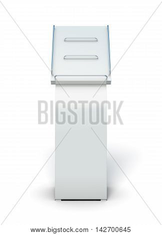 Empty Display For Catalogs Or Magazines Isolated On White Background. 3D Rendering