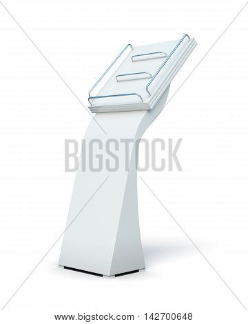 Empty Display For Catalogs Or Magazines Isolated On White Background. 3D Render Image