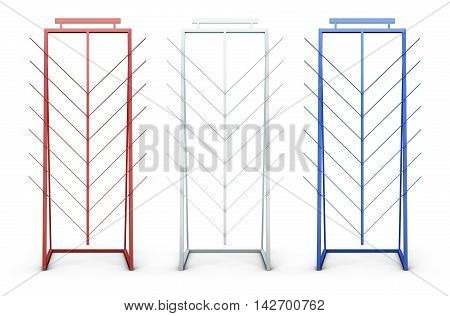 Set Of Promotional Stand Isolated On White Background. 3D Rendering