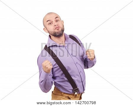 Funny Bald Businessman Boxer.