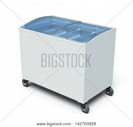 Freezer Chest Isolated On White Background. 3D Render Image