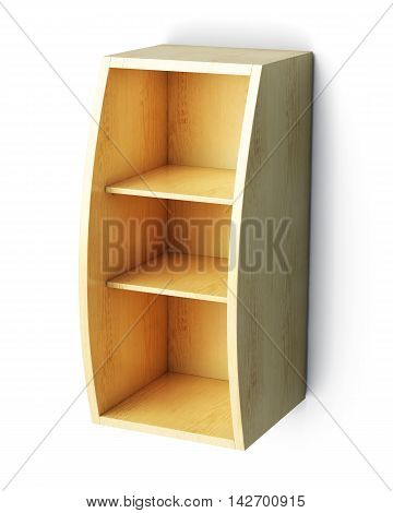 Case With Shelves Isolated On White Background. 3D Rendering
