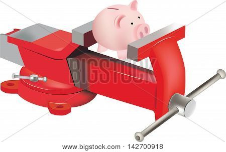 swivel vice symbol with piggy bank swivel vice symbol with piggy-shaped pink pig