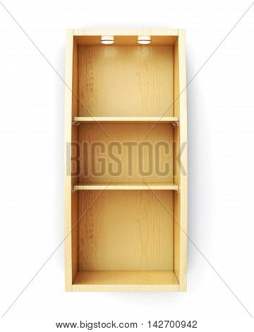 Bookcase With Lighting Isolated On White Background. 3D Rendering