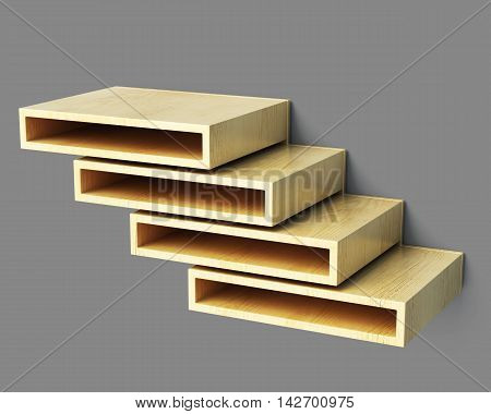 Multilevel Shelves On Grey Background. 3D Rendering