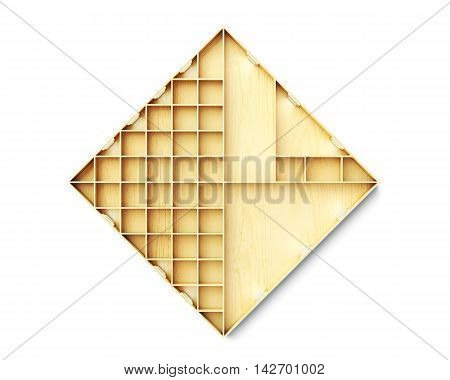 Abstract Shelves Isolated On White Background. 3D Rendering