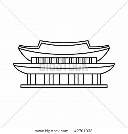 Gyeongbokgung palace, symbol of Seoul icon in outline style isolated on white background vector illustration