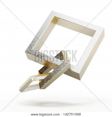 Square Link Chain Isolated On A White Background. 3D Rendering