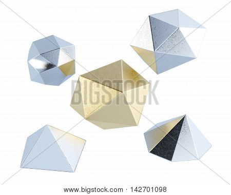 Low Poly Shapes Isolated On White Background. 3D Rendering