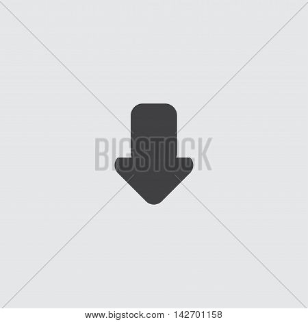 Arrow down icon in a flat design in black color. Vector illustration eps10