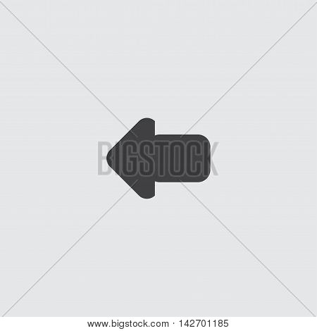 Arrow left icon in a flat design in black color. Vector illustration eps10