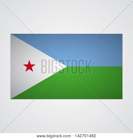 Djibouti flag on a gray background. Vector illustration
