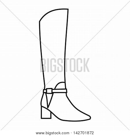 Women high boots icon in outline style isolated on white background. Wear symbol vector illustration