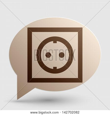 Electrical socket sign. Brown gradient icon on bubble with shadow.