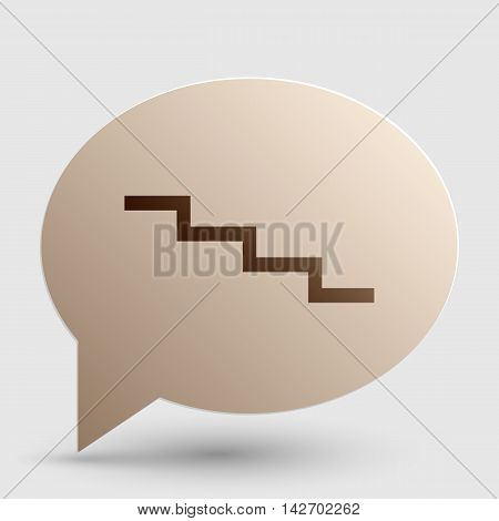 Stair down sign. Brown gradient icon on bubble with shadow.
