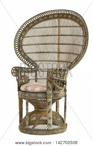 Large old antique Peacock chair made of Rattan wicker & bamboo