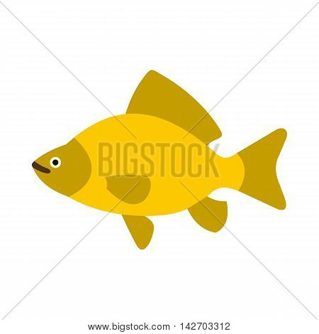 Yellow fish icon in flat style isolated on white background. Sea creatures symbol