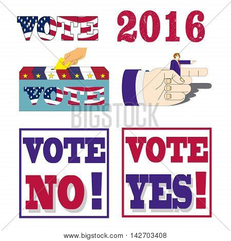 American election badges and vote labels. Symbols of USA president election. Vector illustration