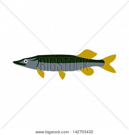 Pike icon in flat style isolated on white background. Sea creatures symbol