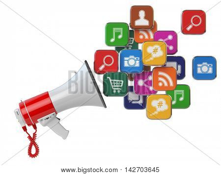 Megaphone with cloud of application icons. Digital marketing concept. 3d illustration