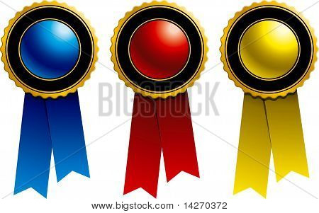 Ribbons: Blue, Red And Yellow