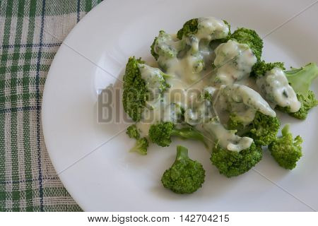 useful dinner with broccoli, broccoli in sauce
